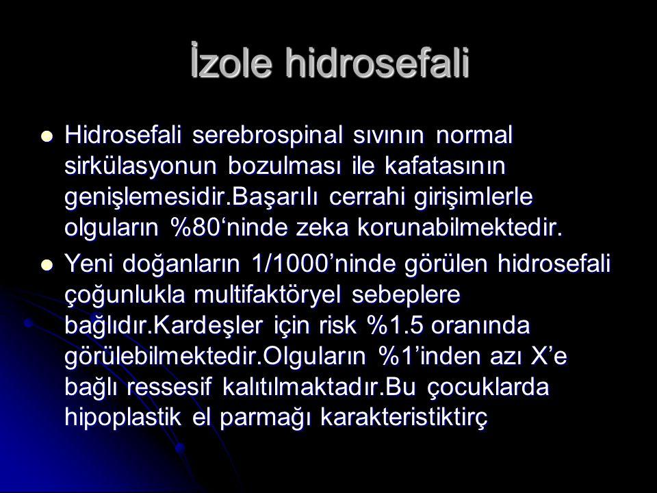 İzole hidrosefali Hidrosefali serebrospinal sıvının normal sirkülasyonun bozulması ile kafatasının genişlemesidir.Başarılı cerrahi girişimlerle olgula