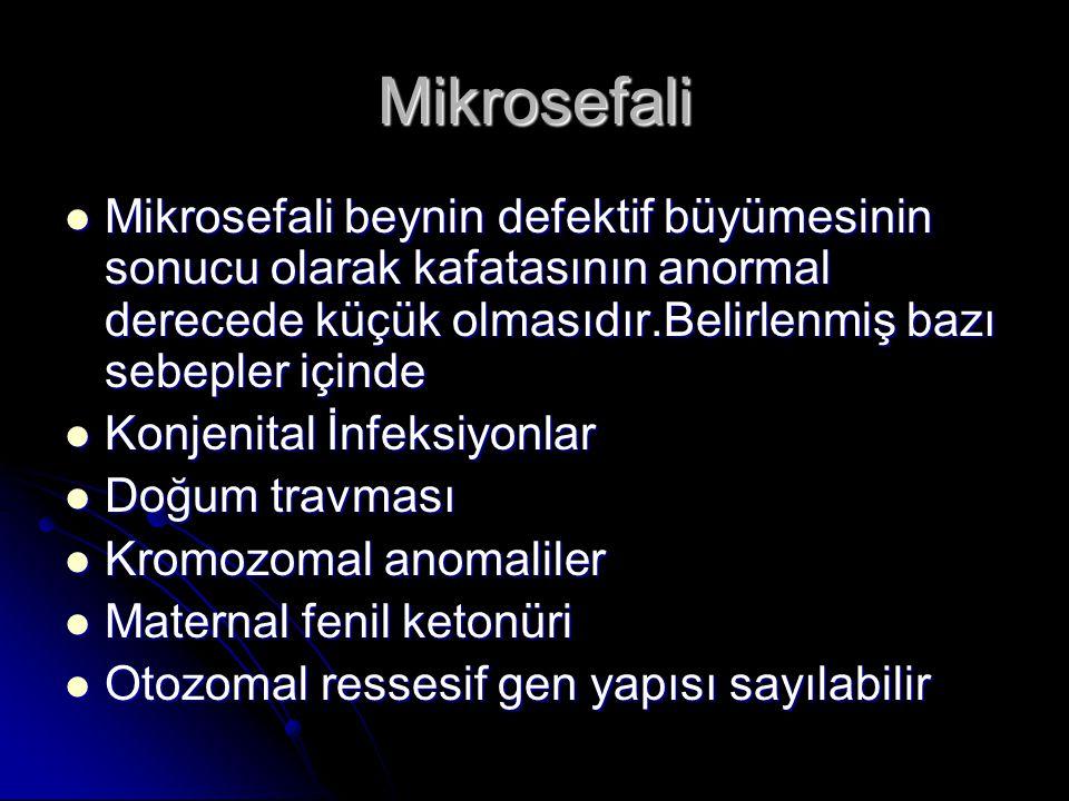 Mikrosefali Mikrosefali beynin defektif büyümesinin sonucu olarak kafatasının anormal derecede küçük olmasıdır.Belirlenmiş bazı sebepler içinde Mikros