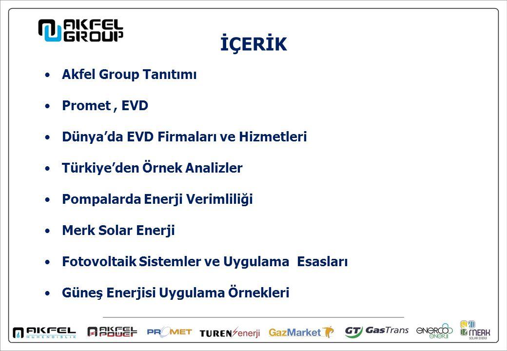 İÇERİK Akfel Group Tanıtımı Promet, EVD Dünya'da EVD Firmaları ve Hizmetleri Türkiye'den Örnek Analizler Pompalarda Enerji Verimliliği Merk Solar Enerji Fotovoltaik Sistemler ve Uygulama Esasları Güneş Enerjisi Uygulama Örnekleri