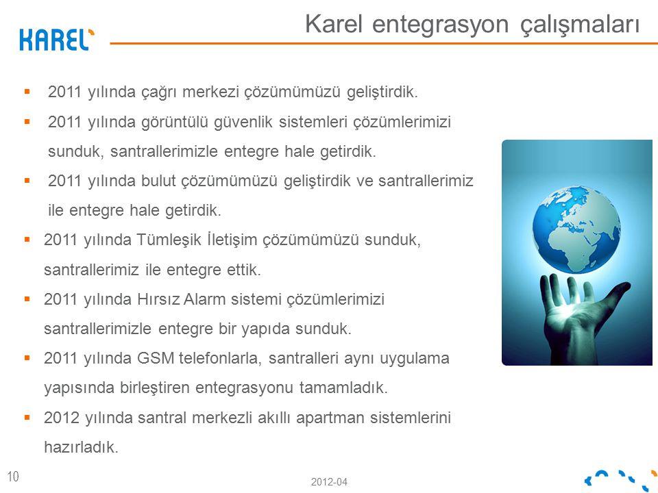 2012-04 Karel entegrasyon çalışmaları 10  2011 yılında çağrı merkezi çözümümüzü geliştirdik.  2011 yılında görüntülü güvenlik sistemleri çözümlerimi