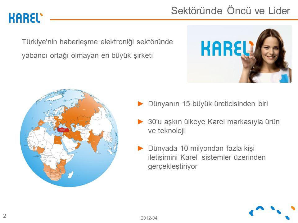 2012-04 Türkiye nin haberleşme elektroniği sektöründe yabancı ortağı olmayan en büyük şirketi Sektöründe Öncü ve Lider 2 ►Dünyanın 15 büyük üreticisinden biri ►30'u aşkın ülkeye Karel markasıyla ürün ve teknoloji ►Dünyada 10 milyondan fazla kişi iletişimini Karel sistemler üzerinden gerçekleştiriyor
