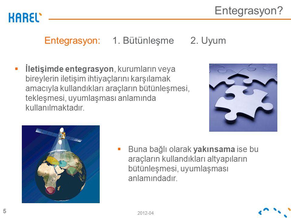 2012-04 Entegrasyon? 5 Entegrasyon: 1. Bütünleşme 2. Uyum  İletişimde entegrasyon, kurumların veya bireylerin iletişim ihtiyaçlarını karşılamak amacı