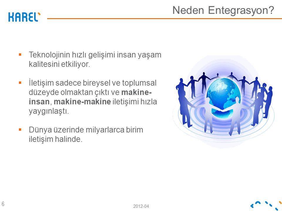2012-04 Neden Entegrasyon? 6  Teknolojinin hızlı gelişimi insan yaşam kalitesini etkiliyor.  İletişim sadece bireysel ve toplumsal düzeyde olmaktan