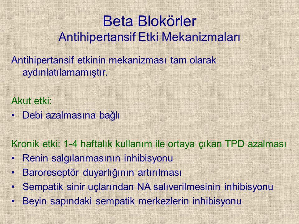 Beta Blokörler Antihipertansif Etki Mekanizmaları Antihipertansif etkinin mekanizması tam olarak aydınlatılamamıştır. Akut etki: Debi azalmasına bağlı