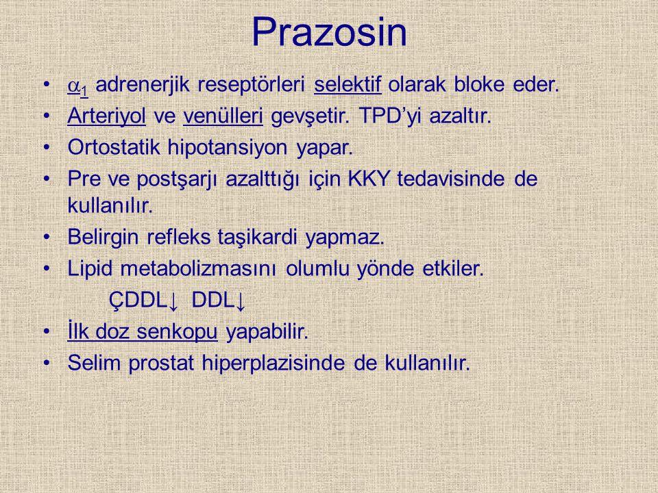 Prazosin  1 adrenerjik reseptörleri selektif olarak bloke eder. Arteriyol ve venülleri gevşetir. TPD'yi azaltır. Ortostatik hipotansiyon yapar. Pre v