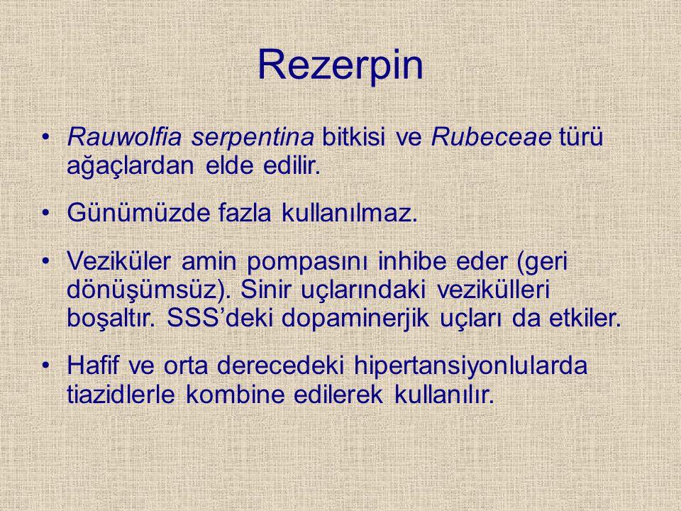 Rezerpin Rauwolfia serpentina bitkisi ve Rubeceae türü ağaçlardan elde edilir. Günümüzde fazla kullanılmaz. Veziküler amin pompasını inhibe eder (geri