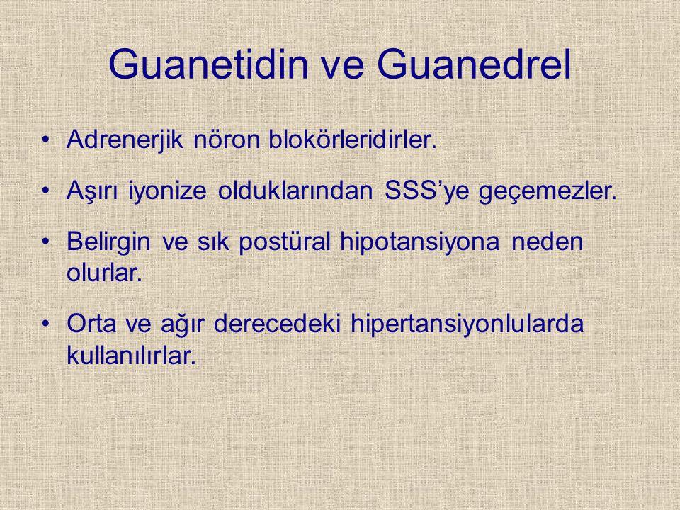 Guanetidin ve Guanedrel Adrenerjik nöron blokörleridirler. Aşırı iyonize olduklarından SSS'ye geçemezler. Belirgin ve sık postüral hipotansiyona neden
