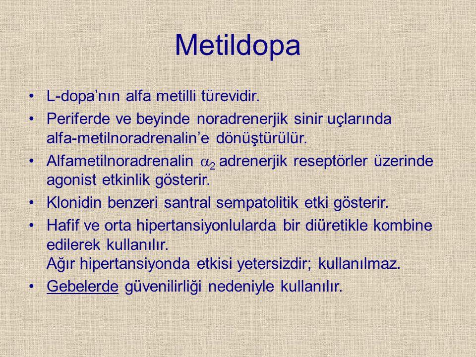 Metildopa L-dopa'nın alfa metilli türevidir. Periferde ve beyinde noradrenerjik sinir uçlarında alfa-metilnoradrenalin'e dönüştürülür. Alfametilnoradr