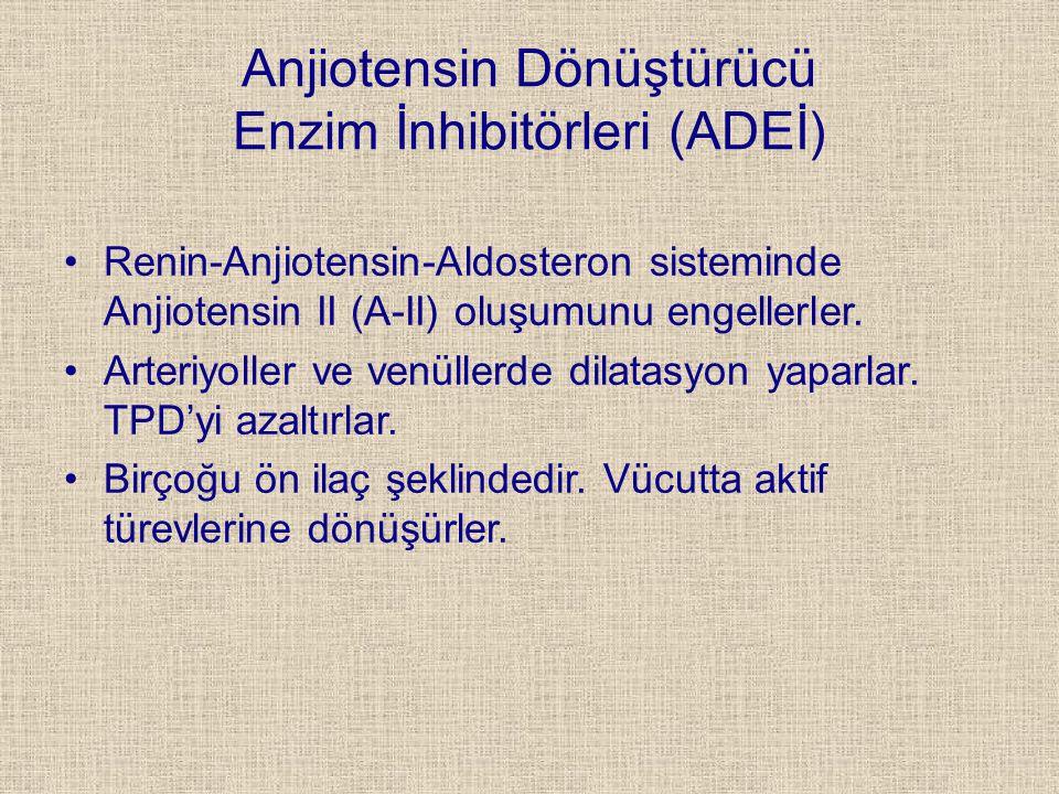 Anjiotensin Dönüştürücü Enzim İnhibitörleri (ADEİ) Renin-Anjiotensin-Aldosteron sisteminde Anjiotensin II (A-II) oluşumunu engellerler. Arteriyoller v