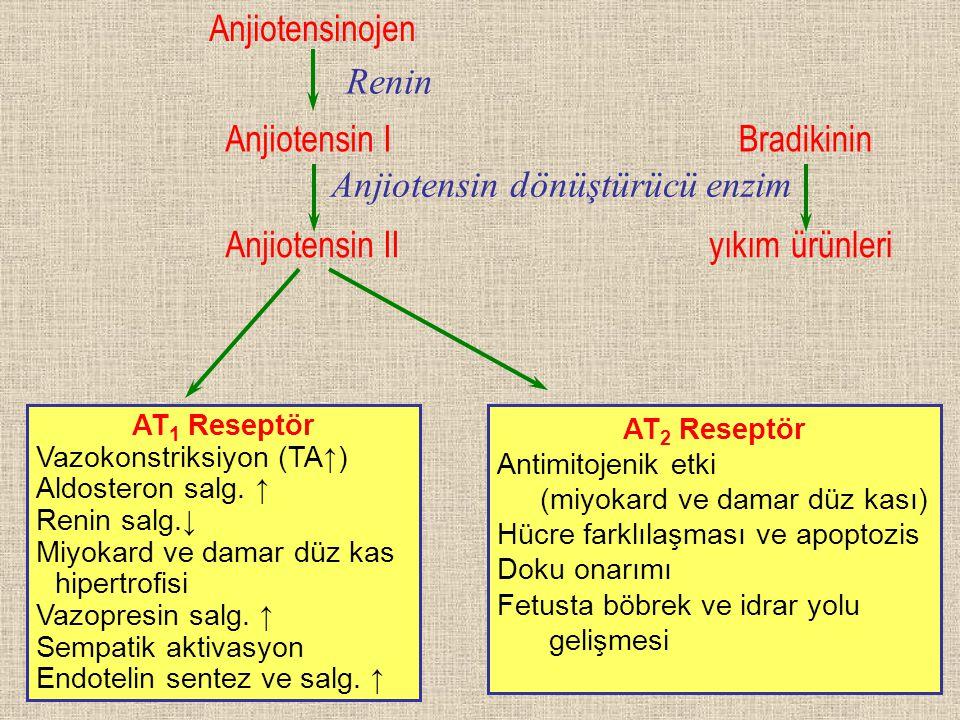 Anjiotensinojen Anjiotensin I Anjiotensin II AT 1 Reseptör Vazokonstriksiyon (TA↑) Aldosteron salg. ↑ Renin salg.↓ Miyokard ve damar düz kas hipertrof