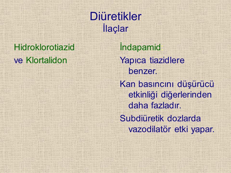 Diüretikler İlaçlar Hidroklorotiazid ve Klortalidon İndapamid: Yapıca tiazidlere benzer. Kan basıncını düşürücü etkinliği diğerlerinden daha fazladır.