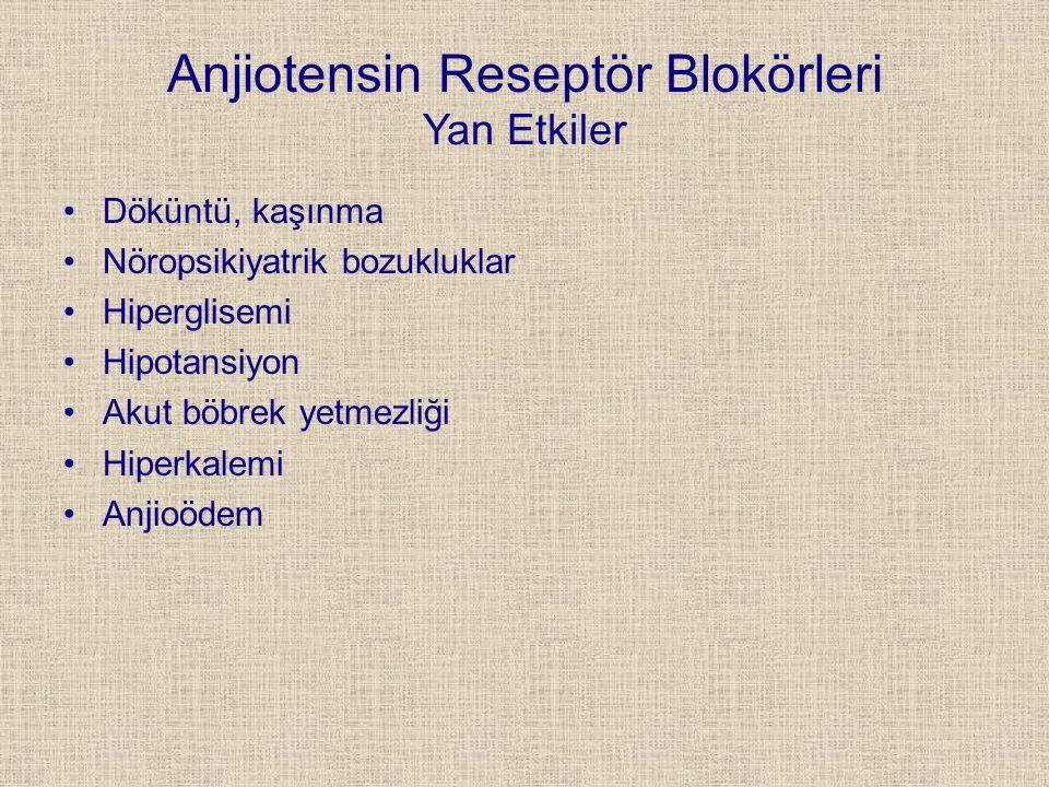 Anjiotensin Reseptör Blokörleri Yan Etkiler Döküntü, kaşınma Nöropsikiyatrik bozukluklar Hiperglisemi Hipotansiyon Akut böbrek yetmezliği Hiperkalemi