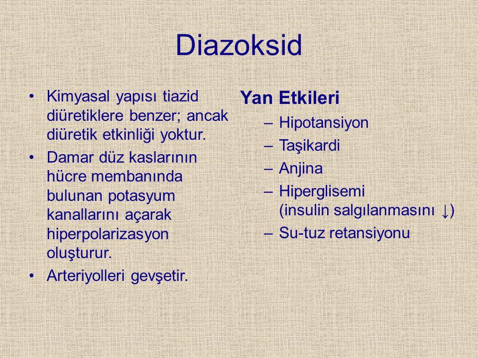 Diazoksid Kimyasal yapısı tiazid diüretiklere benzer; ancak diüretik etkinliği yoktur. Damar düz kaslarının hücre membanında bulunan potasyum kanallar