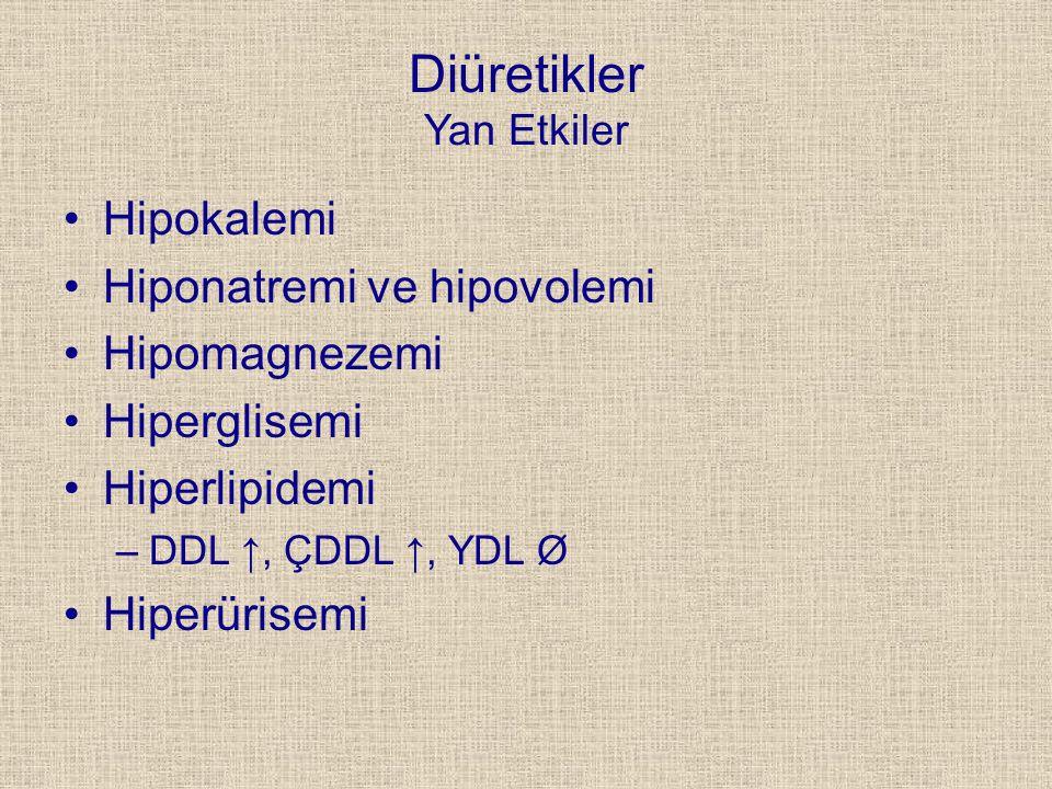 Diüretikler Yan Etkiler Hipokalemi Hiponatremi ve hipovolemi Hipomagnezemi Hiperglisemi Hiperlipidemi –DDL ↑, ÇDDL ↑, YDL Ø Hiperürisemi