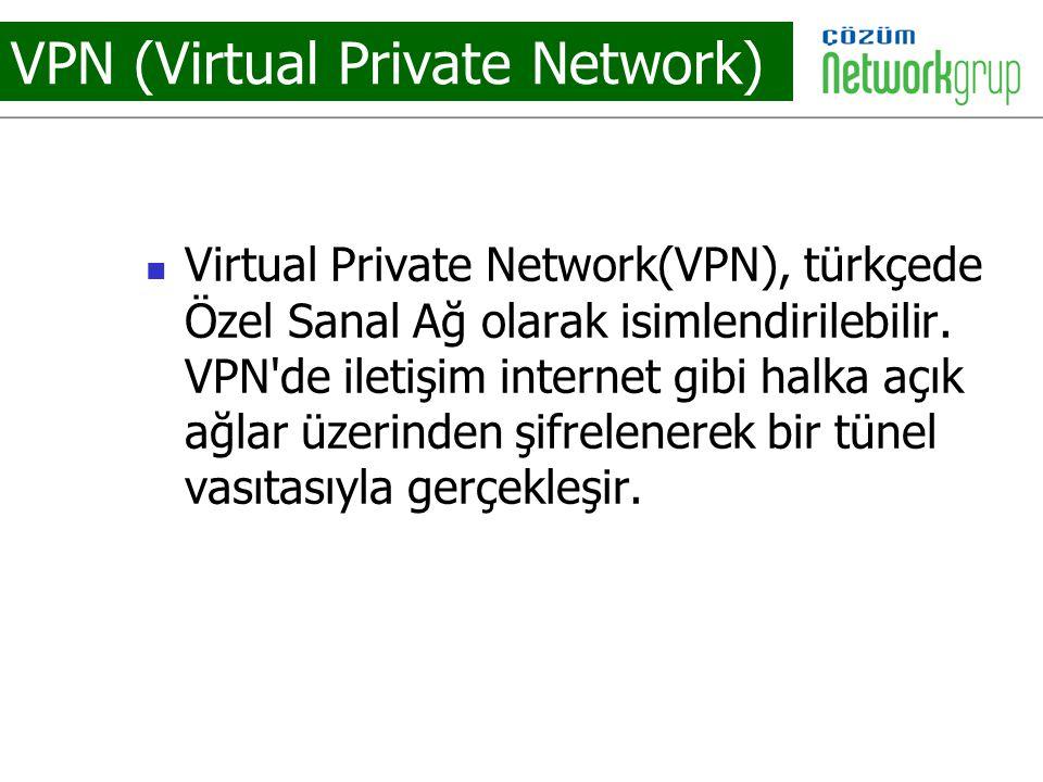 VPN (Virtual Private Network) Virtual Private Network(VPN), türkçede Özel Sanal Ağ olarak isimlendirilebilir. VPN'de iletişim internet gibi halka açık