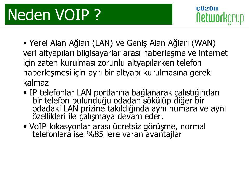 Neden VOIP ? Yerel Alan Ağları (LAN) ve Geniş Alan Ağları (WAN) veri altyapıları bilgisayarlar arası haberleşme ve internet için zaten kurulması zorun