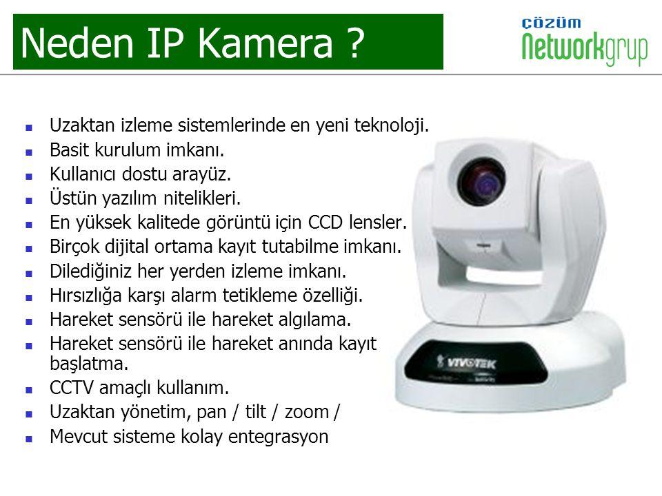 Neden IP Kamera ? Uzaktan izleme sistemlerinde en yeni teknoloji. Basit kurulum imkanı. Kullanıcı dostu arayüz. Üstün yazılım nitelikleri. En yüksek k