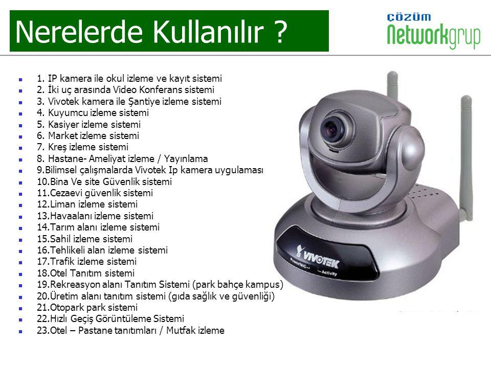 Nerelerde Kullanılır ? 1. IP kamera ile okul izleme ve kayıt sistemi 2. İki uç arasında Video Konferans sistemi 3. Vivotek kamera ile Şantiye izleme s
