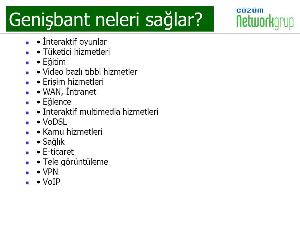 Genişbant neleri sağlar? İnteraktif oyunlar Tüketici hizmetleri Eğitim Video bazlı tıbbi hizmetler Erişim hizmetleri WAN, İntranet Eğlence Interaktif