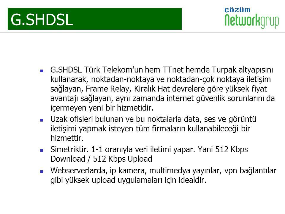 G.SHDSL G.SHDSL Türk Telekom'un hem TTnet hemde Turpak altyapısını kullanarak, noktadan-noktaya ve noktadan-çok noktaya iletişim sağlayan, Frame Relay