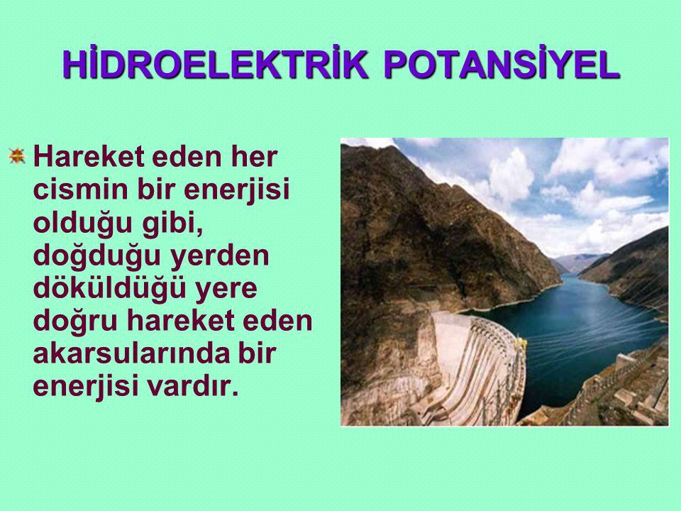 HİDROELEKTRİK POTANSİYEL Bu enerjiye HİDROELEKTRİK ENERJİ adı verilir.