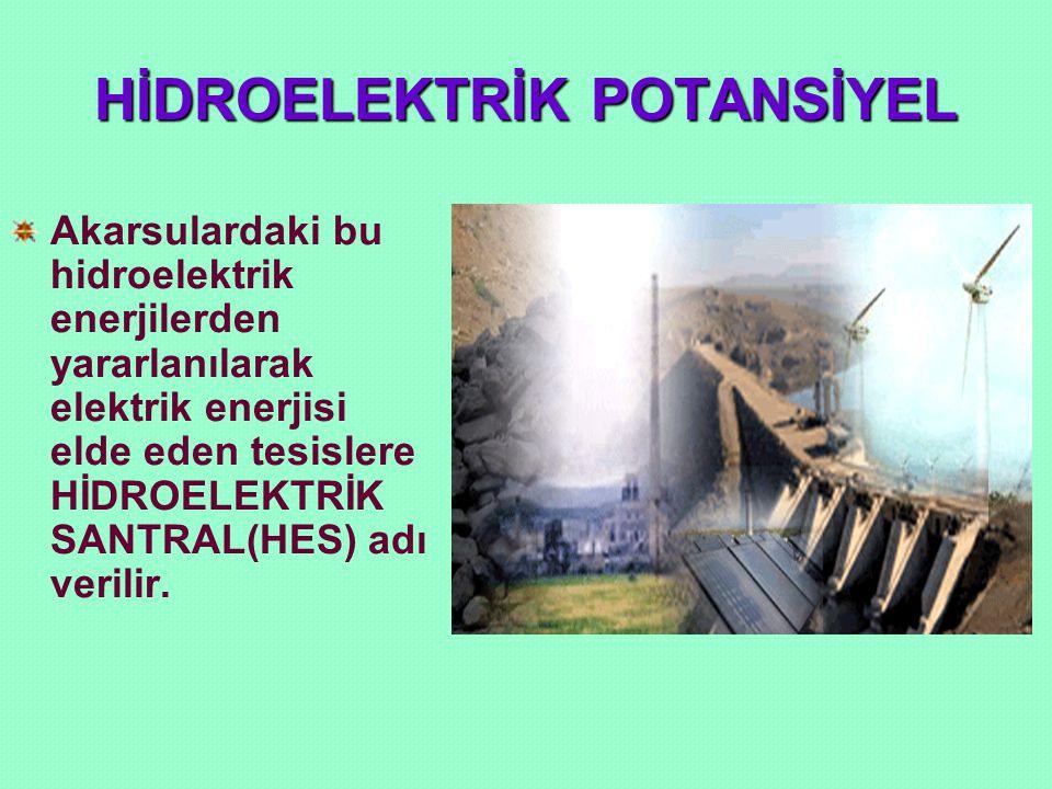 HİDROELEKTRİK POTANSİYEL Akarsulardaki bu hidroelektrik enerjilerden yararlanılarak elektrik enerjisi elde eden tesislere HİDROELEKTRİK SANTRAL(HES) a