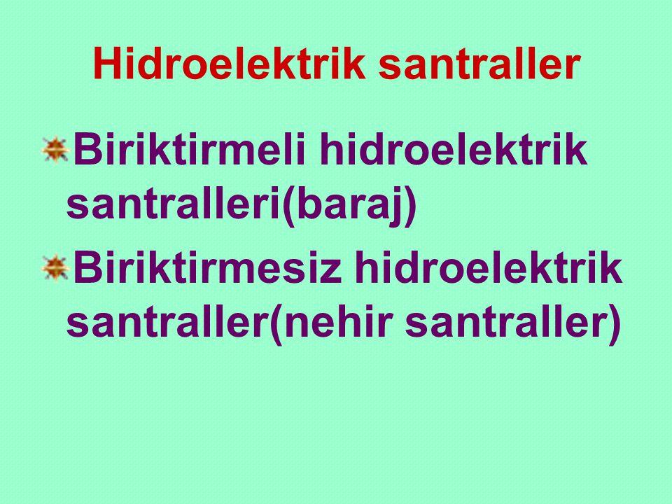 Hidroelektrik santraller Biriktirmeli hidroelektrik santralleri(baraj) Biriktirmesiz hidroelektrik santraller(nehir santraller)