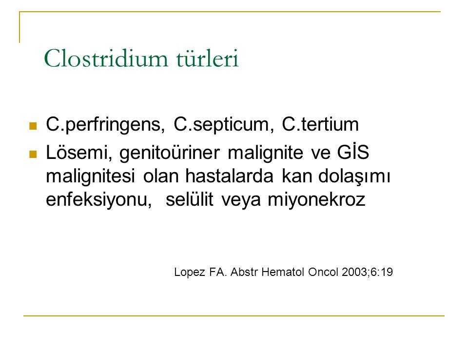 Clostridium türleri C.perfringens, C.septicum, C.tertium Lösemi, genitoüriner malignite ve GİS malignitesi olan hastalarda kan dolaşımı enfeksiyonu, selülit veya miyonekroz Lopez FA.