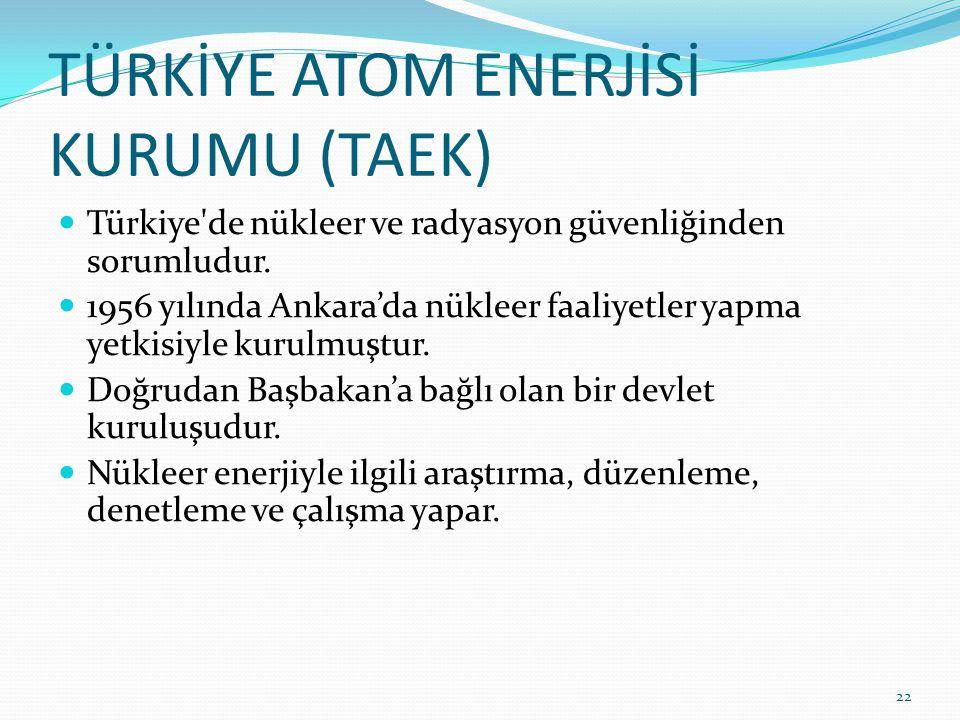 TÜRKİYE ATOM ENERJİSİ KURUMU (TAEK) Türkiye de nükleer ve radyasyon güvenliğinden sorumludur.