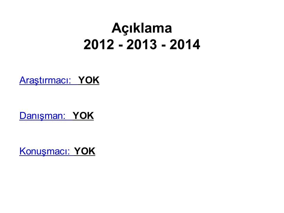 Açıklama 2012 - 2013 - 2014 Araştırmacı: YOK Danışman: YOK Konuşmacı: YOK