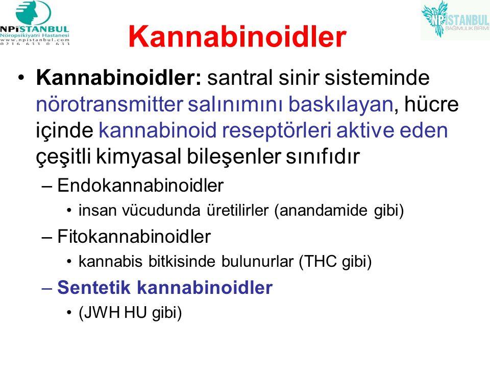 Kannabinoidler Kannabinoidler: santral sinir sisteminde nörotransmitter salınımını baskılayan, hücre içinde kannabinoid reseptörleri aktive eden çeşit