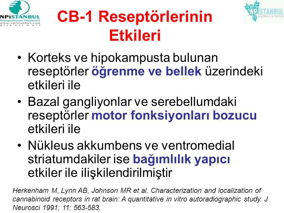 CB-1 Reseptörlerinin Etkileri Korteks ve hipokampusta bulunan reseptörler öğrenme ve bellek üzerindeki etkileri ile Bazal gangliyonlar ve serebellumda
