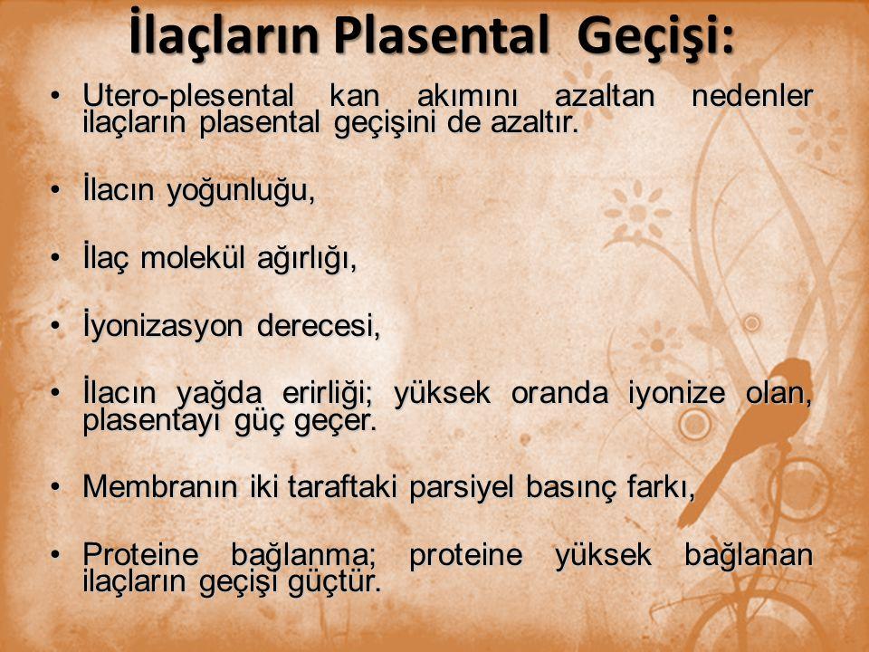 İlaçların Plasental Geçişi: Utero-plesental kan akımını azaltan nedenler ilaçların plasental geçişini de azaltır.Utero-plesental kan akımını azaltan n