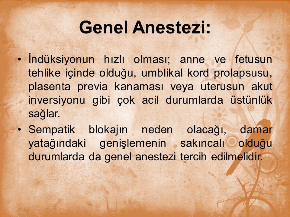 Genel Anestezi: İndüksiyonun hızlı olması; anne ve fetusun tehlike içinde olduğu, umblikal kord prolapsusu, plasenta previa kanaması veya uterusun aku