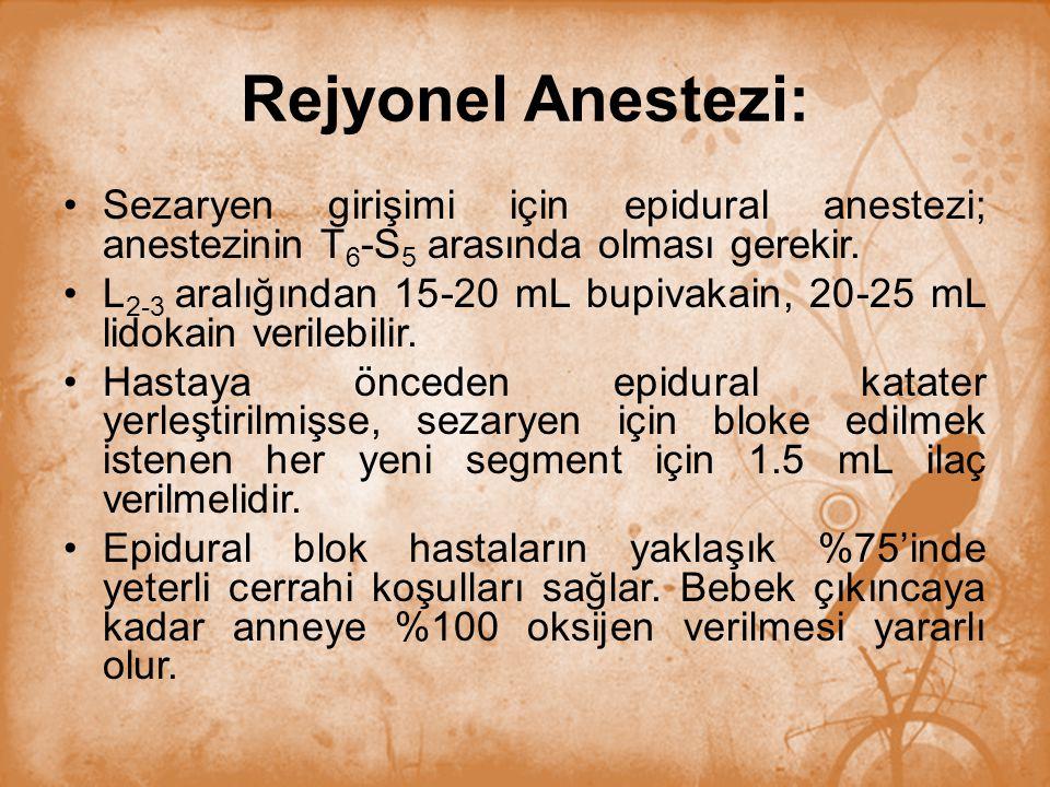 Rejyonel Anestezi: Sezaryen girişimi için epidural anestezi; anestezinin T 6 -S 5 arasında olması gerekir. L 2-3 aralığından 15-20 mL bupivakain, 20-2