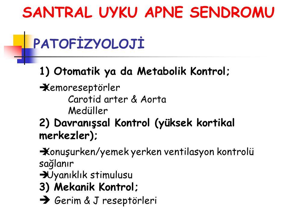 SANTRAL UYKU APNE SENDROMU PATOFİZYOLOJİ 1) Otomatik ya da Metabolik Kontrol;  Kemoreseptörler Carotid arter & Aorta Medüller 2) Davranışsal Kontrol (yüksek kortikal merkezler);  Konuşurken/yemek yerken ventilasyon kontrolü sağlanır  Uyanıklık stimulusu 3) Mekanik Kontrol;  Gerim & J reseptörleri