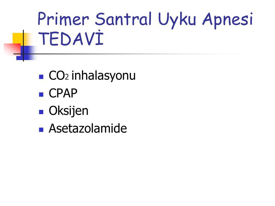 Primer Santral Uyku Apnesi TEDAVİ CO 2 inhalasyonu CPAP Oksijen Asetazolamide