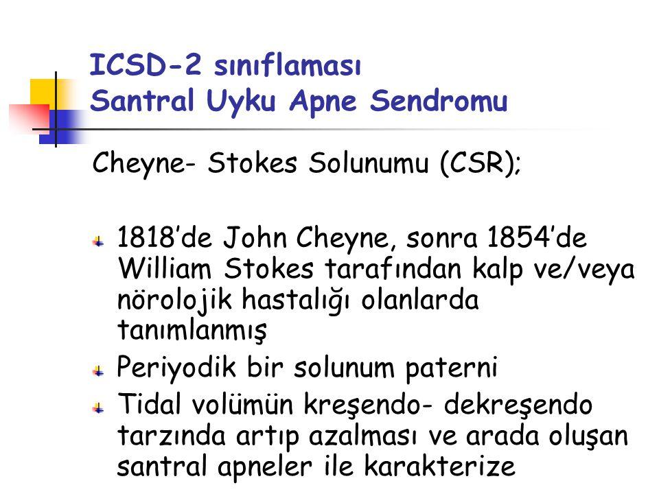 ICSD-2 sınıflaması Santral Uyku Apne Sendromu Cheyne- Stokes Solunumu (CSR); 1818'de John Cheyne, sonra 1854'de William Stokes tarafından kalp ve/veya nörolojik hastalığı olanlarda tanımlanmış Periyodik bir solunum paterni Tidal volümün kreşendo- dekreşendo tarzında artıp azalması ve arada oluşan santral apneler ile karakterize