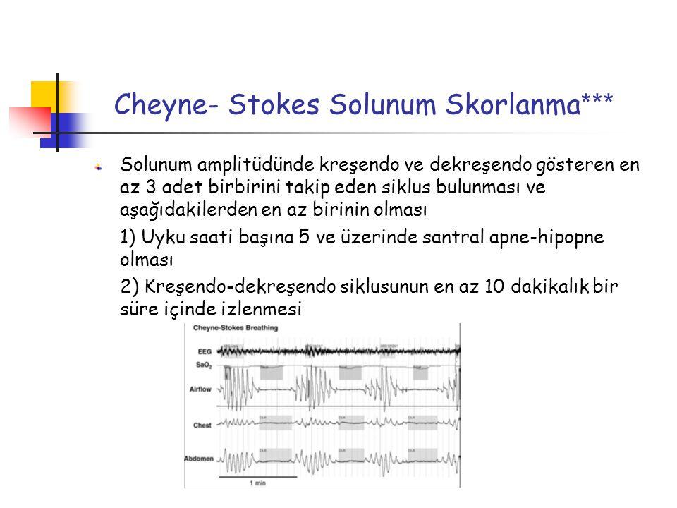 Cheyne- Stokes Solunum Skorlanma *** Solunum amplitüdünde kreşendo ve dekreşendo gösteren en az 3 adet birbirini takip eden siklus bulunması ve aşağıdakilerden en az birinin olması 1) Uyku saati başına 5 ve üzerinde santral apne-hipopne olması 2) Kreşendo-dekreşendo siklusunun en az 10 dakikalık bir süre içinde izlenmesi