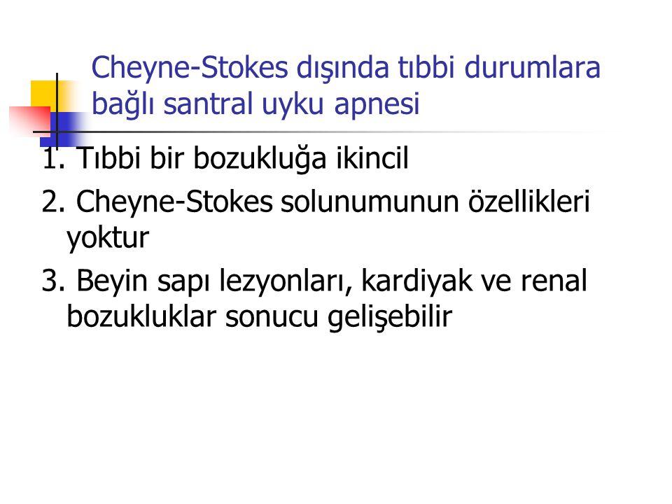 Cheyne-Stokes dışında tıbbi durumlara bağlı santral uyku apnesi 1. Tıbbi bir bozukluğa ikincil 2. Cheyne-Stokes solunumunun özellikleri yoktur 3. Beyi