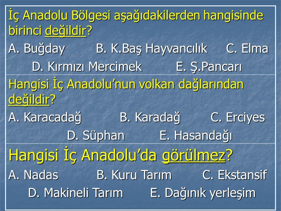 İç Anadolu Bölgesi aşağıdakilerden hangisinde birinci değildir? A. Buğday B. K.Baş Hayvancılık C. Elma D. Kırmızı Mercimek E. Ş.Pancarı D. Kırmızı Mer
