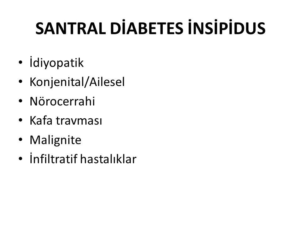 SANTRAL DİABETES İNSİPİDUS-KLİNİK Poliüri Noktüri Polidipsi Serum Na ↑ Serum osm ↑
