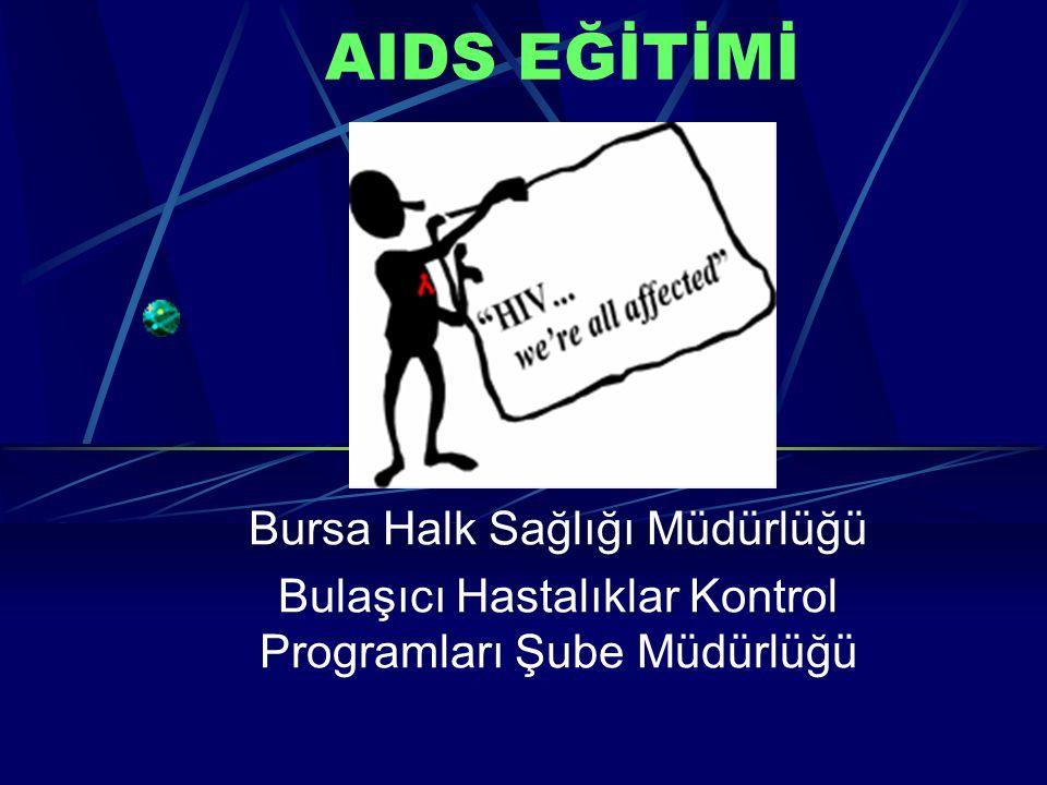 AIDS EĞİTİMİ Bursa Halk Sağlığı Müdürlüğü Bulaşıcı Hastalıklar Kontrol Programları Şube Müdürlüğü