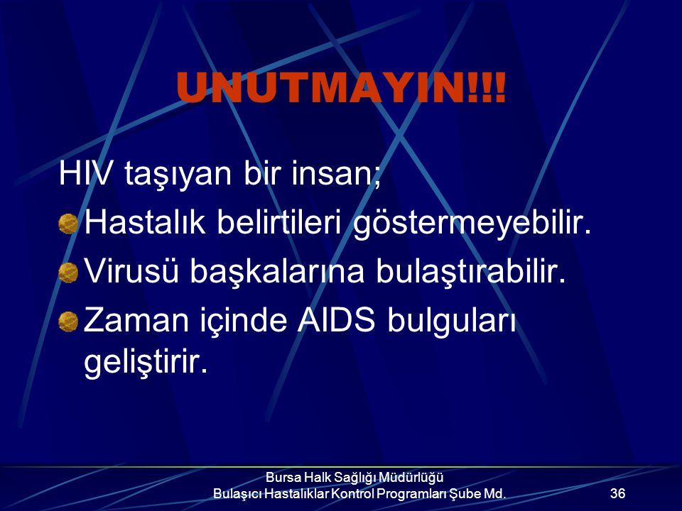 Bursa Halk Sağlığı Müdürlüğü Bulaşıcı Hastalıklar Kontrol Programları Şube Md.35 Anneden bebeğe geçişi önlemek için; Riskli davranışlarınız söz konusu ise gebe kalmadan önce test yaptırıp, HIV(-) olduğunuza emin olun