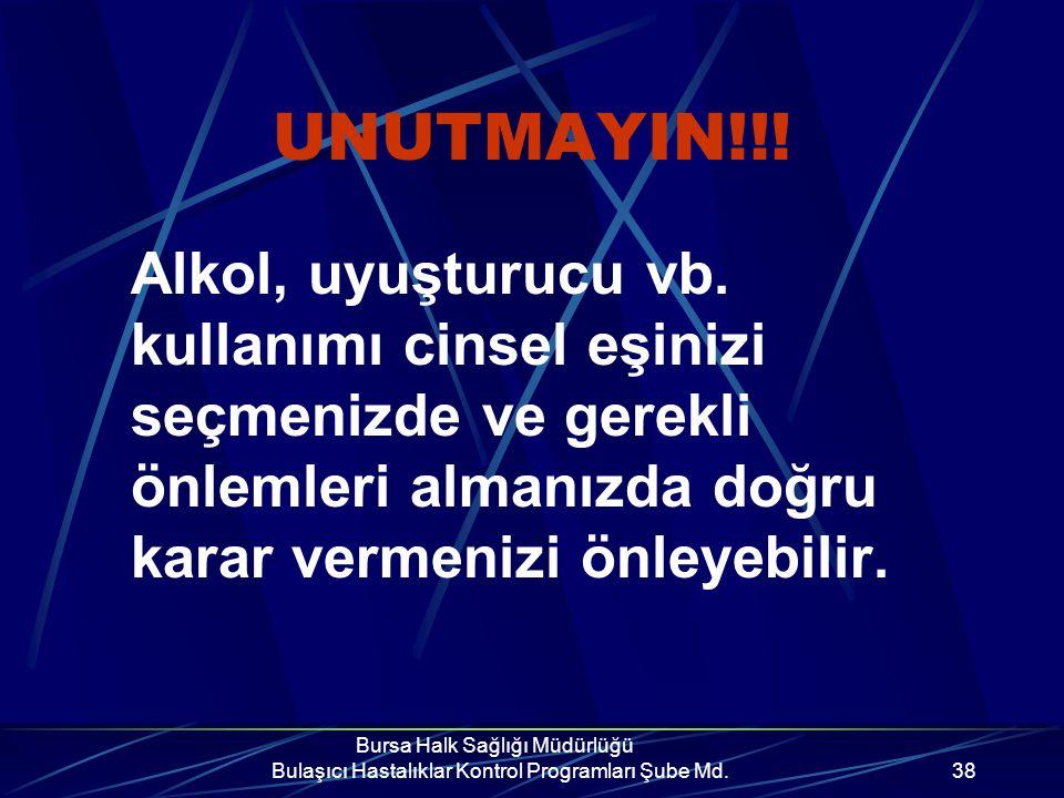 Bursa Halk Sağlığı Müdürlüğü Bulaşıcı Hastalıklar Kontrol Programları Şube Md.37 UNUTMAYIN!!.