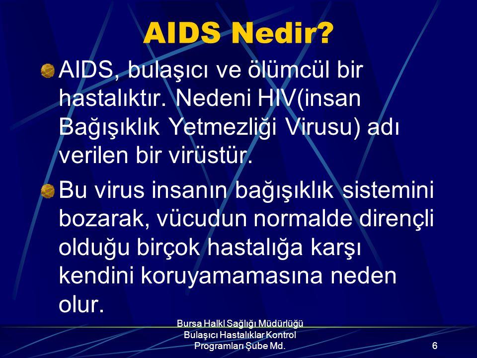 Bursa Halk Sağlığı Müdürlüğü Bulaşıcı Hastalıklar Kontrol Programları Şube Md.26 HIV günlük yaşamda aynı odada, büroda, sınıfta bulunmakla, aynı havayı solumakla bulaşmaz.