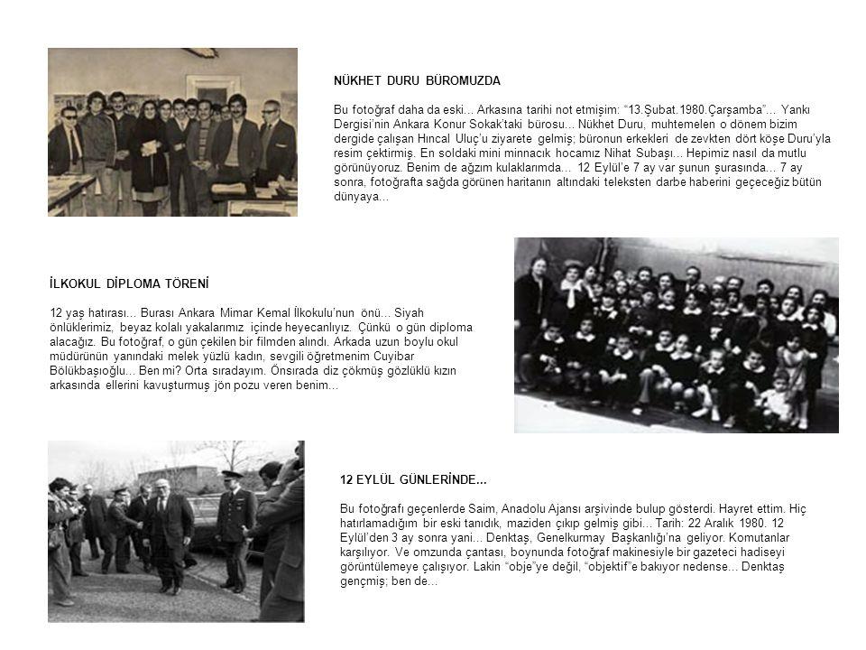 """NÜKHET DURU BÜROMUZDA Bu fotoğraf daha da eski... Arkasına tarihi not etmişim: """"13.Şubat.1980.Çarşamba""""... Yankı Dergisi'nin Ankara Konur Sokak'taki b"""