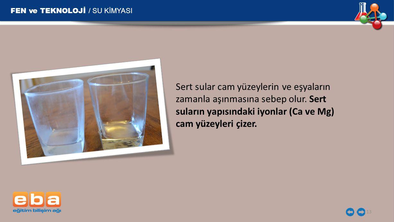 FEN ve TEKNOLOJİ / SU KİMYASI 13 Sert sular cam yüzeylerin ve eşyaların zamanla aşınmasına sebep olur. Sert suların yapısındaki iyonlar (Ca ve Mg) cam