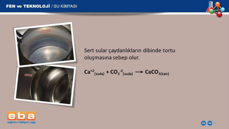 FEN ve TEKNOLOJİ / SU KİMYASI 14 Sert sular çaydanlıkların dibinde tortu oluşmasına sebep olur. Ca +2 (suda) + CO 3 -2 (suda) CaCO 3(katı)