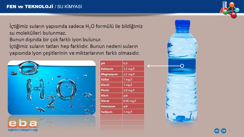 FEN ve TEKNOLOJİ / SU KİMYASI 4 İçtiğimiz suların yapısında sadece H 2 O formülü ile bildiğimiz su molekülleri bulunmaz. Bunun dışında bir çok farklı